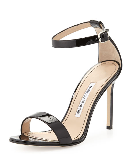 Manolo Blahnik Chaos Patent Leather Sandal, Black