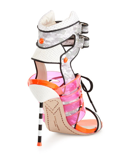 Jourdan Jelly Lace-Up Sandal, Gray