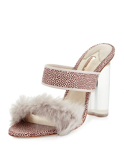 Skye Faux-Fur-Trimmed Pebbled Mule