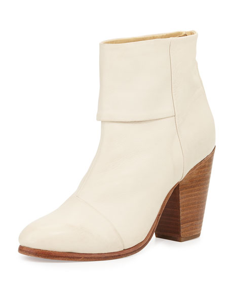 Newbury Classic Leather Bootie, Off White