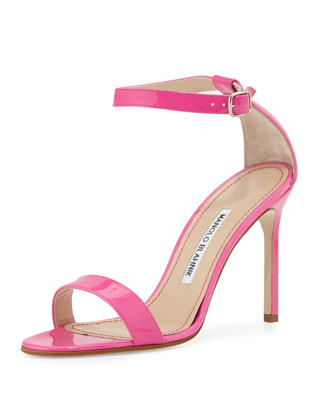 Manolo Blahnik Chaos Patent High-Heel Sandal Pink