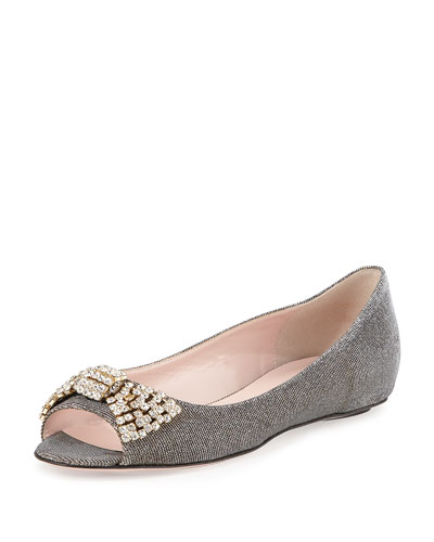 vanna metallic peep-toe flat, bronze