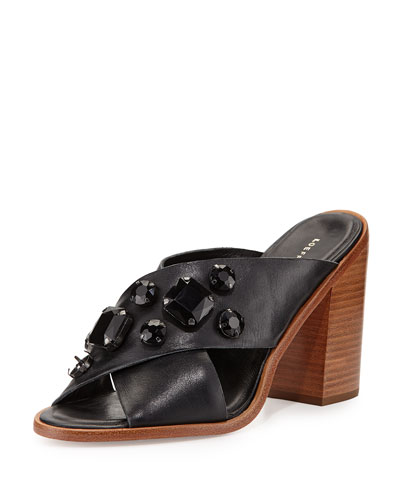 Etta Jewel-Embellished Mule, Black