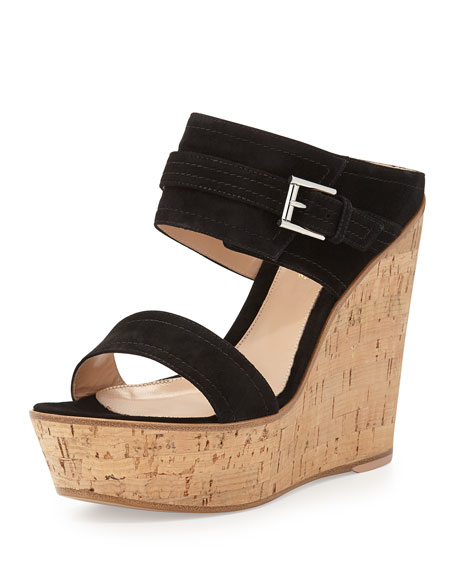 Gianvito Rossi Suede Ankle-Wrap Wedge Slide, Black