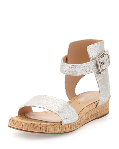 Metallic Leather Ankle-Cuff Sandal, Silver