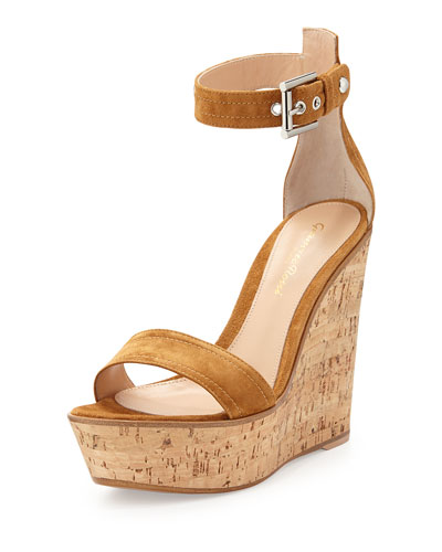 Ankle-Wrap Platform Wedge, Brown