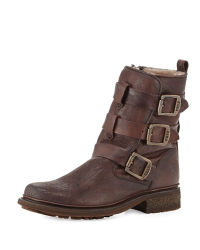 Valerie Strappy Shearling Boot, Dark Brown