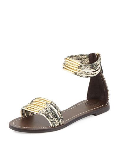 Mignon Rings Flat Sandal, Black/Ivory