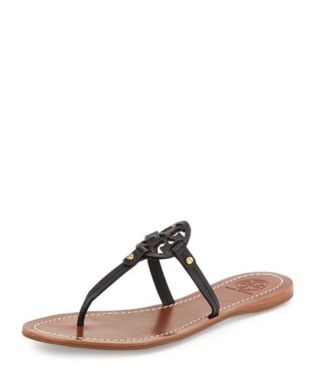 Mini Miller Leather Flat Thong Sandal, Black - Tory Burch Mini Miller Leather Flat Thong Sandal, Black