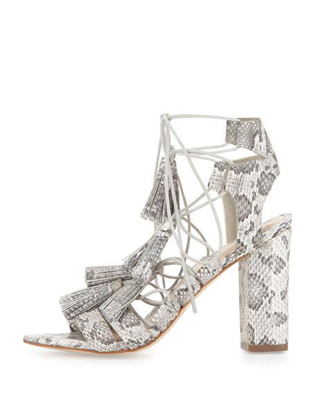 Loeffler Randall Luz Tassel Snakeskin Sandal, Cream/Grey