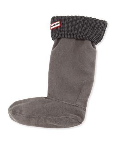 Half-Cardigan Fleece Welly Boot Socks, Slate Gray