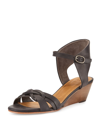 Melania Demi-Wedge Sandal, Dark Gray