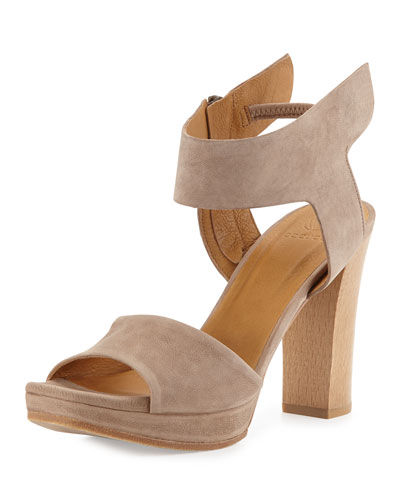 Free High-Heel Leather Sandal, Brown