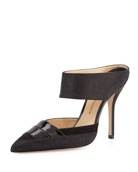 Paul Andrew High-Heel Leather Mule, Black