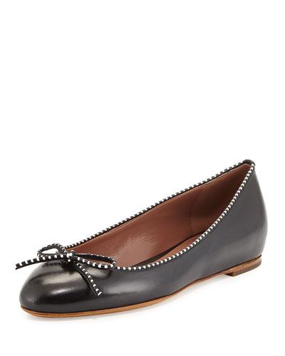 Coco Stripe-Trim Ballerina Flat, Black