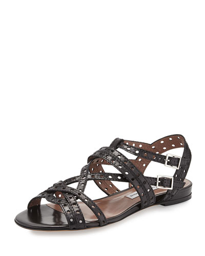 Perforated Leather Sandal, Black