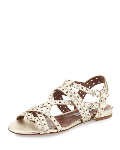 Perforated Metallic Sandal, Gold