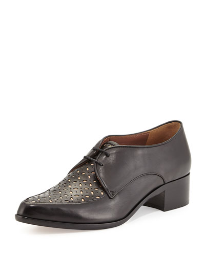 Helga Perforated Lace-Up Oxford, Black