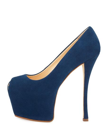 Liza Suede Peep-Toe Platform Pump, Blue