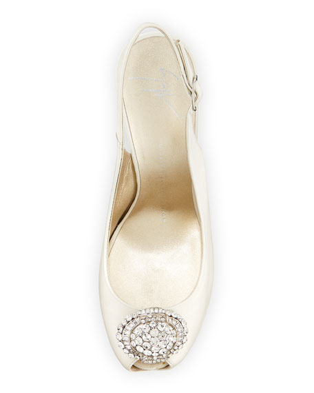 Leather Crystal-Toe Slingback Sandal, Ice Gray