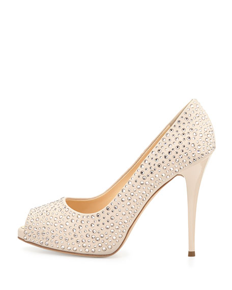Crystal Embellished Peep-Toe Pump, Blush