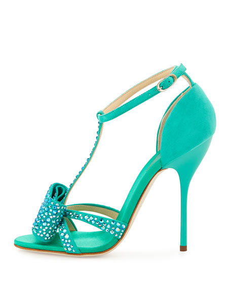 Suede Crystal-Bow Sandal, Light Green