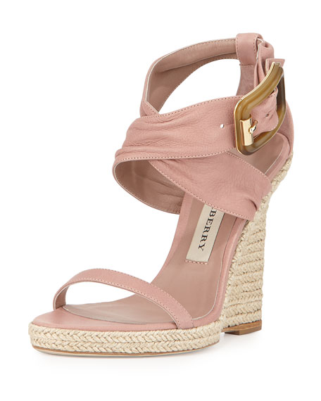 Catsbrook Crisscross Tumbled Leather Wedge, Nude Blush