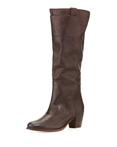 Jackie Leather Riding Boot, Dark Brown