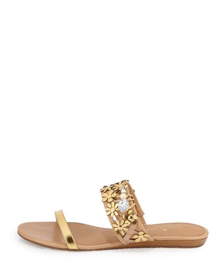bloom flower-embellished sandal, natural