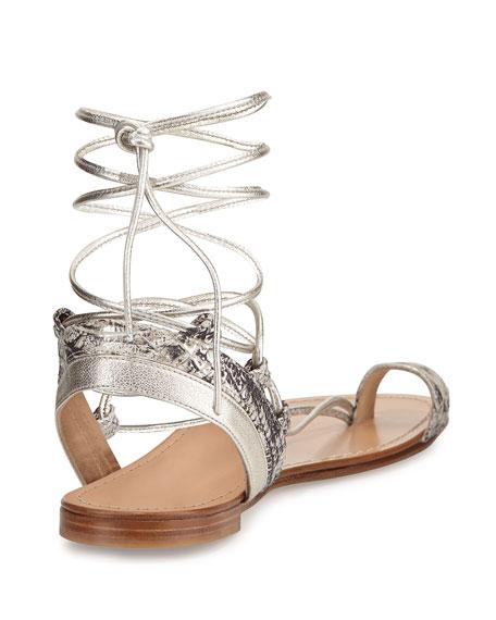 Lasso Metallic Lace-Up Gladiator Sandal, Pearl