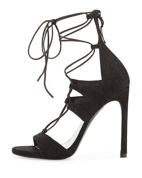 LegWrap Lace-Up Sandal, Black