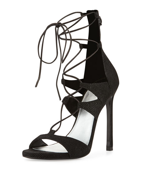 Stuart Weitzman LegWrap Lace-Up Sandal, Black