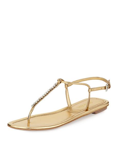Metallic Leather Thong Sandal, Platino