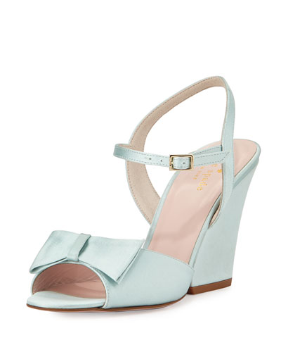 imari satin wedge sandal, pale blue