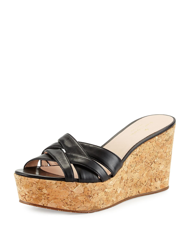 kate spade new york talcott crisscross wedge sandal, black | Neiman Marcus
