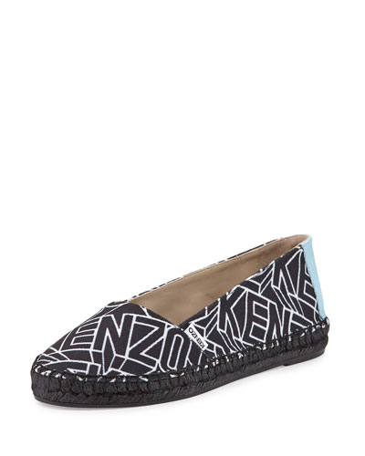 Logo Printed Canvas Espadrille, Black/White
