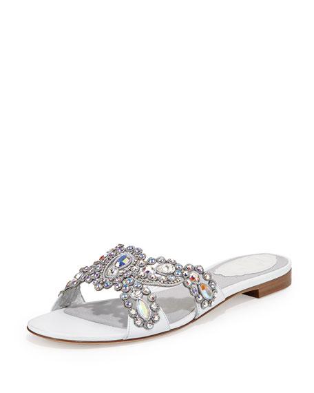 Jeweled Crisscross Slide Sandal, White