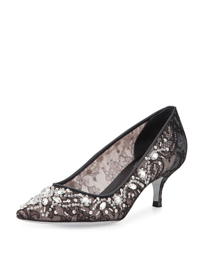 Crystal-Embellished Lace Pump, Black