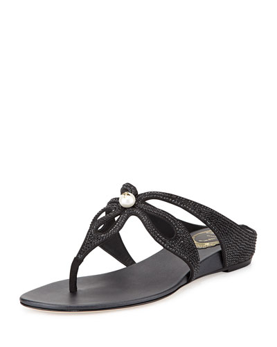 Crystal Loop-Strap Sandal, Black