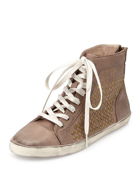 Frye Kira Studded High-Top Sneaker, Gray
