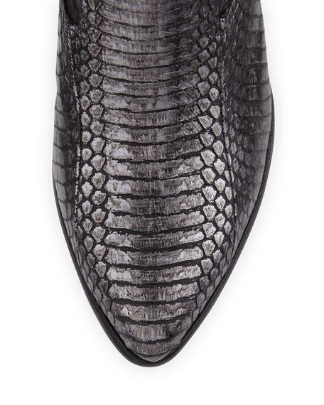 Reina Metallic Snake-Print Western Bootie, Charcoal