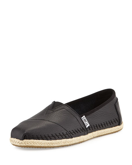 TOMS Leather Espadrille Slip-On, Black