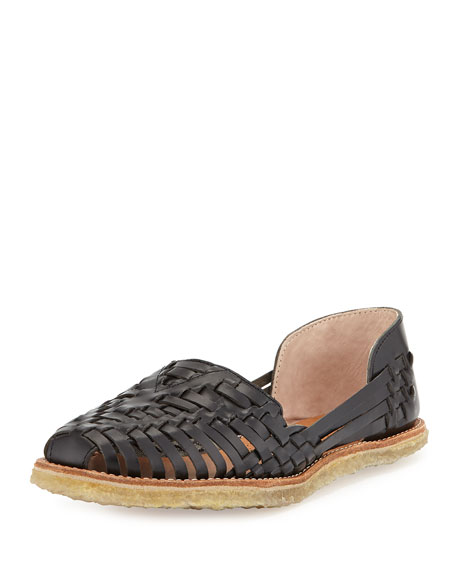 TOMS Leather Huarache Flat Sandal, Black