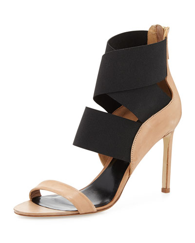 Jean Stretch-Wrap Sandal, Sahara/Black