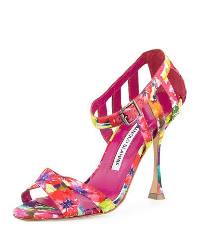 Ranca Floral-Print Strappy Sandal, Pink/Multi