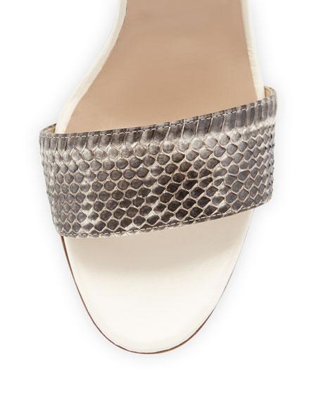 Lauratopri Watersnake Chunky-Heel Sandal, Black/White