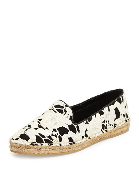 Cole Haan Palermo Lace Espadrille Loafer, Black/White