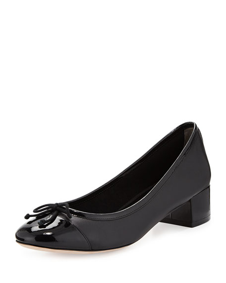 Cole Haan Sarina Leather Cap-Toe Pump, Black