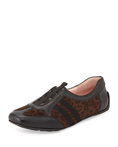 Coye Leather Traveler Sneaker, Leopard