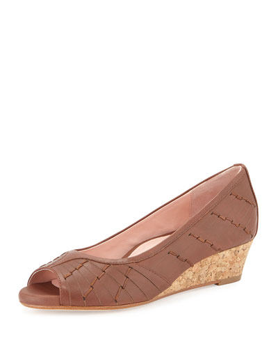 Sadey Woven Peep-Toe Wedge, Luggage